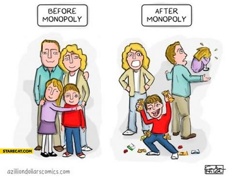 Family before Monopoly after Monopoly game | StareCat