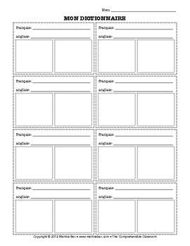 Form: Dictionary Page by The Comprehensible Classroom by