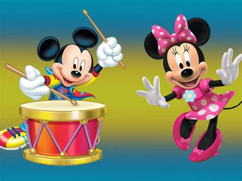 Mickey Mouse And Minnie Mouse With Drum Desktop Hd