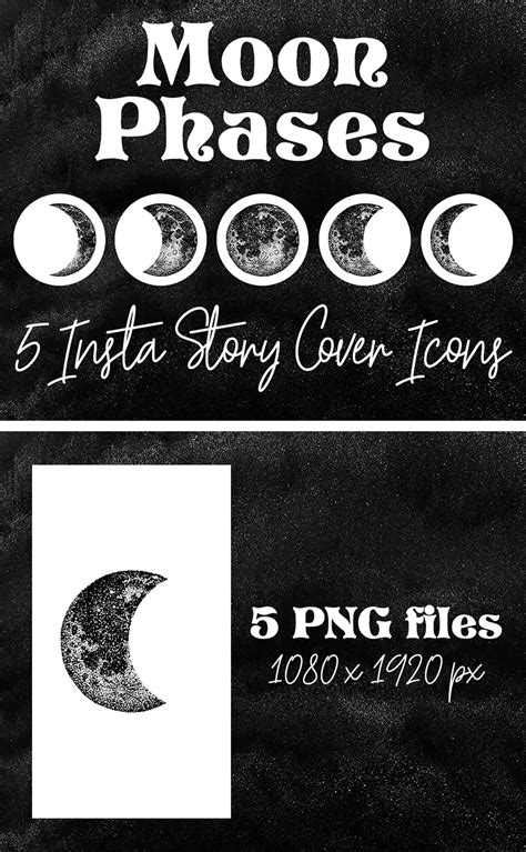Boho Moon Phases, Insta Story Cover Icons, Instagram