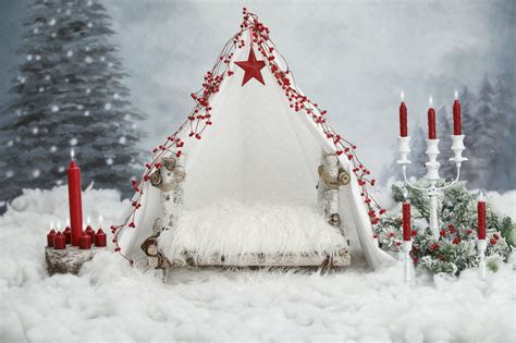 Digital backdrop Christmas fur baby toddler white tent red
