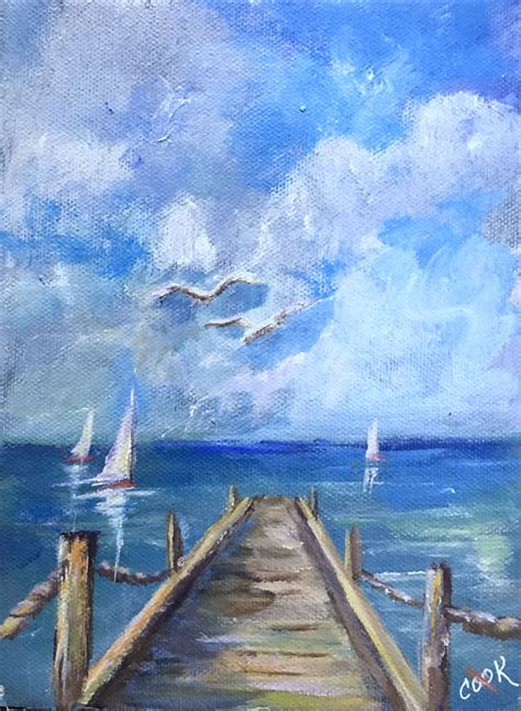 Pier One an 8x10 YouTube acrylic lesson on one point