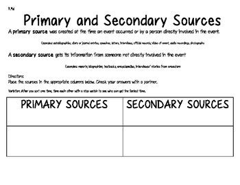 Primary and Secondary Sources Sorting Activity by Bethany