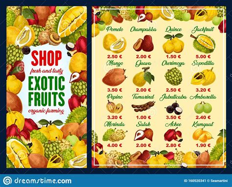 Exotic Fruits And Tropical Berries With Prices Stock